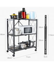 """TygerClaw """"TYDS140045S"""" 3-Layer Folding Mobile Steel Shelving Unit"""